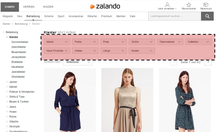 Kategorie-Filter bei Zalando.de