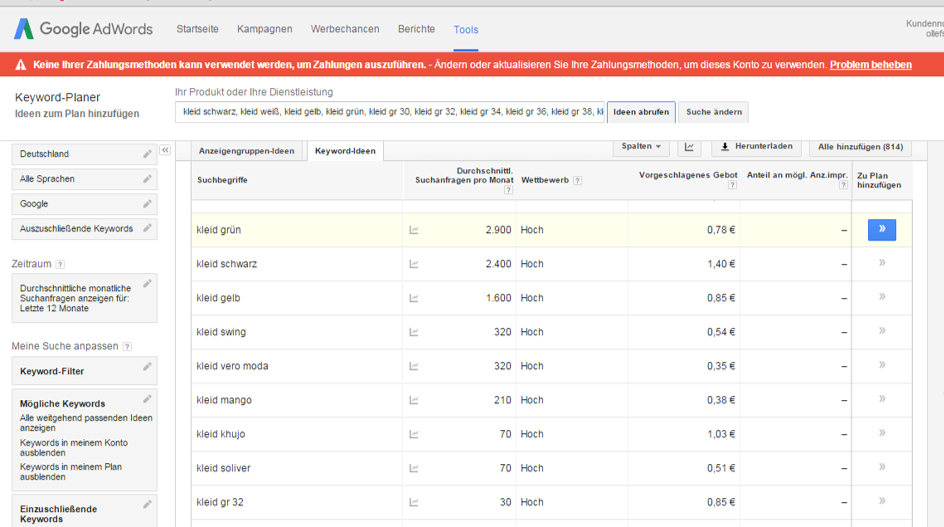 Identifikation von Suchclustern mit Hilfe des Google Keywordplaners