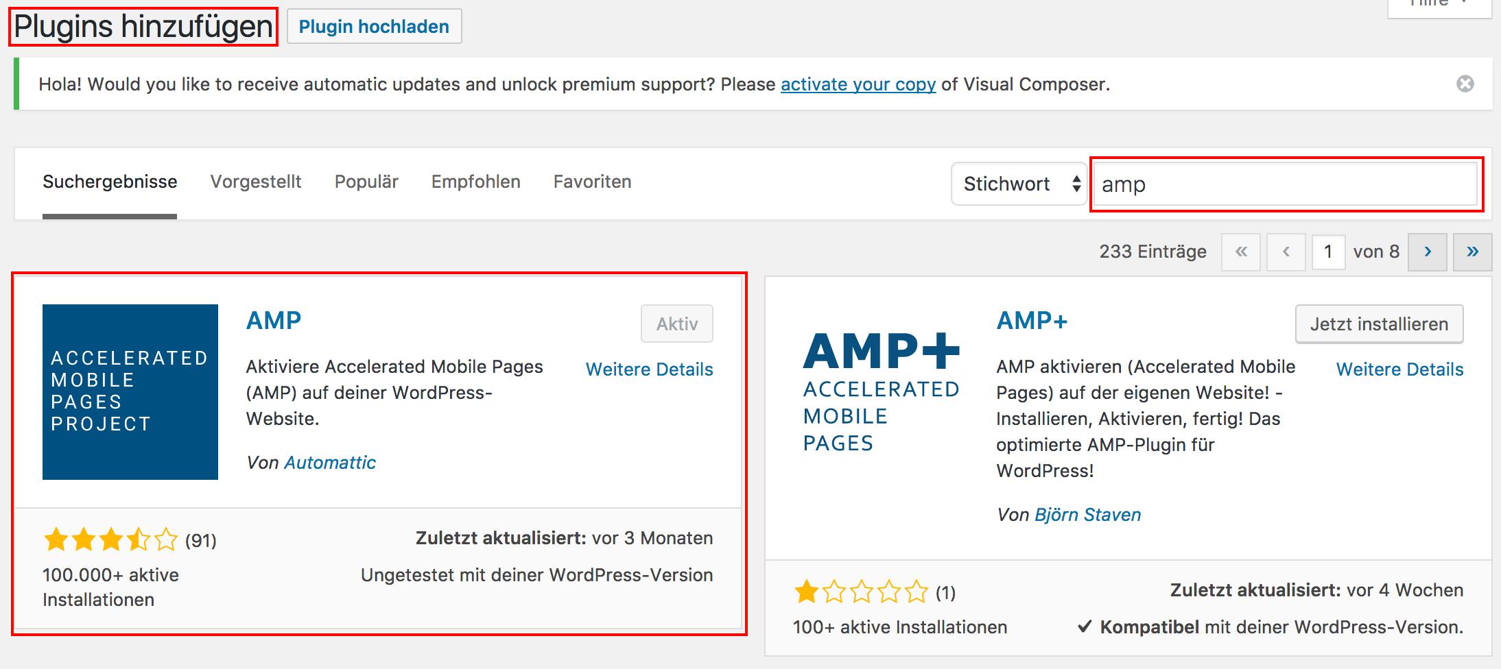 AMP Plugin für WordPress installieren