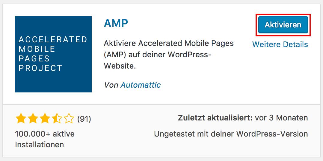 AMP Plugin für WordPress aktivieren
