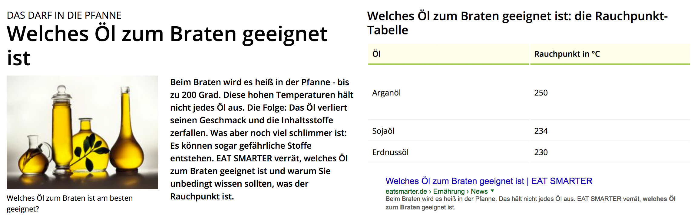 Richtige Features Snippets Formatierung