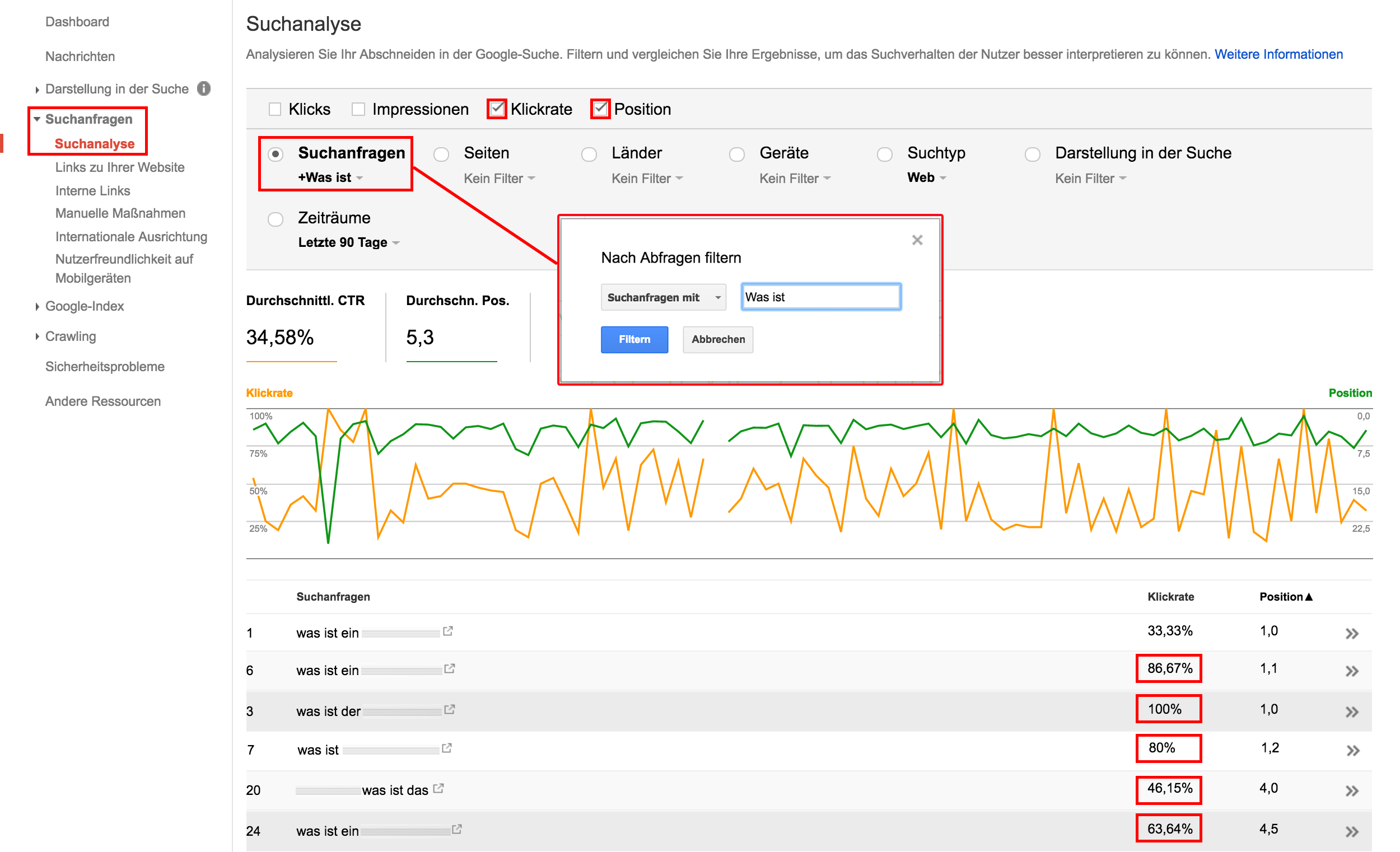 Suchanalyse Google Search Console